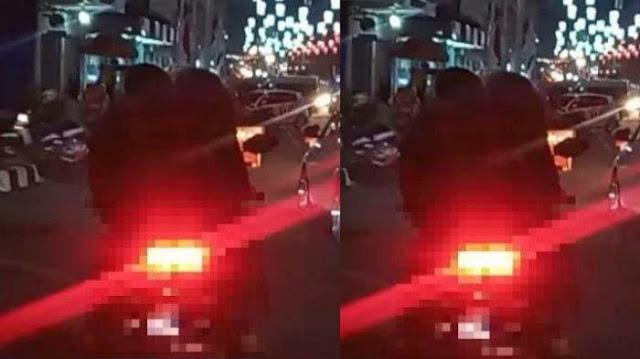 VIRAL VIDEO Sejoli Ciuman Sambil Naik Motor Motor hingga Terjatuh, Disebut Bak Kena Azab, Panen Tawa