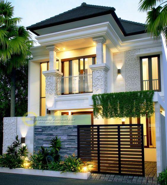 Rumah minimalis 2 lantai atap limasan dengan gaya villa Bali