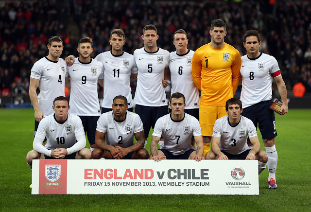 Formación de Inglaterra ante Chile, amistoso disputado el 15 de noviembre de 2013