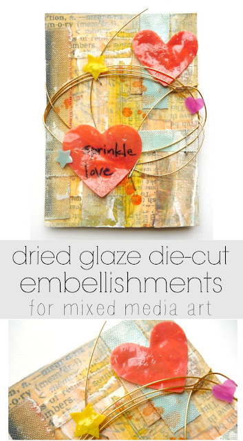 Sprinkle Love Artist Trading Card with Dried Glaze Die-Cuts by Dana Tatar for Faber-Castell