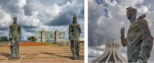 Estátuas dos Evangelistas, de Alfredo Ceschiatti, na Catedral de Brasília