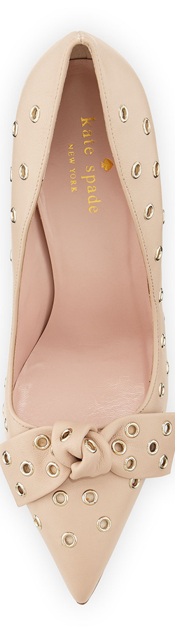 kate spade new york lia grommet-studded pump, pumice