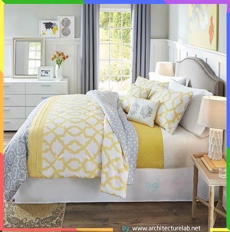 غرف نوم اصفر ورمادي