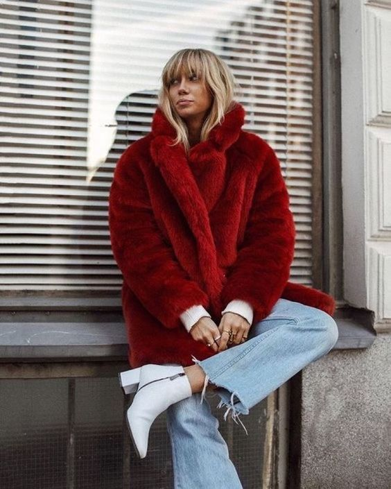 Lisa Olsson Faux Fur Coat White Ankle Boots Blogger street style