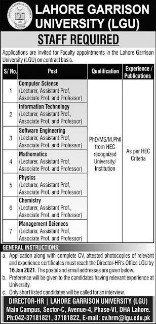Lahore Garrison University LGU Jobs 2021