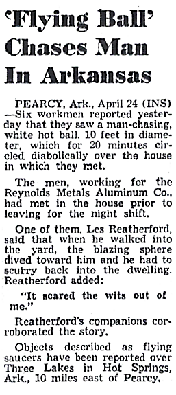 'Flying Ball' Chases Man in Arkansas - The Detroit Times 4-24-1954