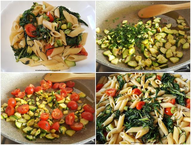 Pasta con agretti, zucchine, pomodorini
