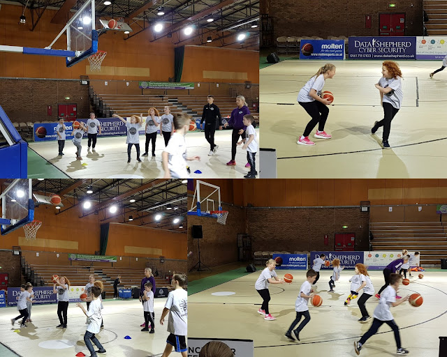 Manchester Giants Basketball Party Review kids training session on court