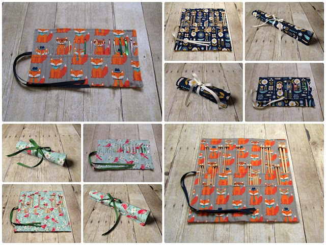 Organize your knitting needles and crochet hook cases in handmade style