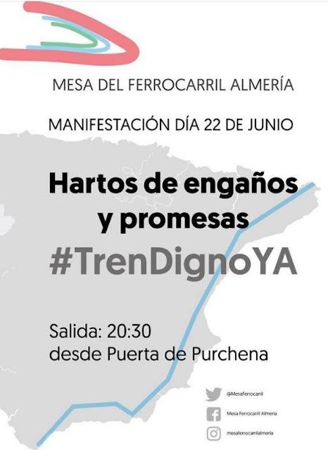 Cartel manifestación por el tren digno en Almería