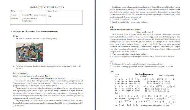 Soal Ulangan Harian Kelas 6 SD/MI Tema 6