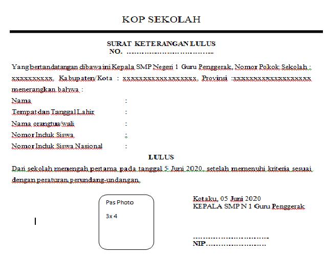 Contoh Surat Keterangan Lulus SMP
