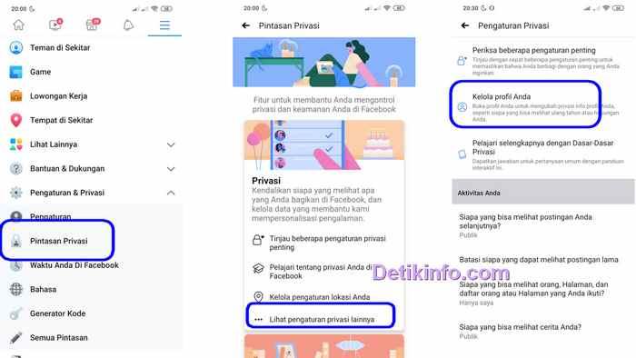 menu privasi hidden contact facebook