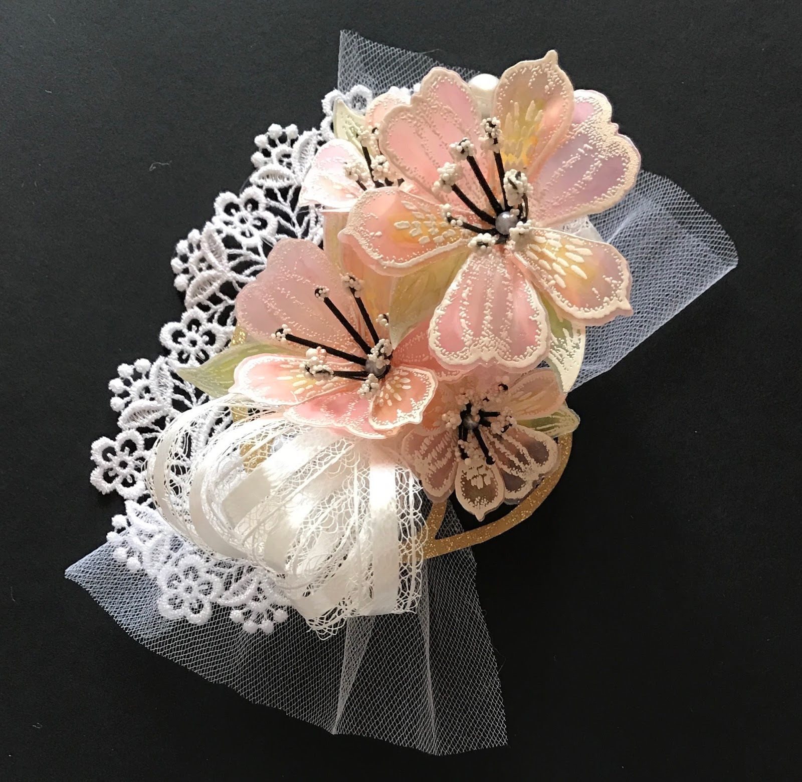 My creative life 2017 to make this corsage i first created the flowers using vellum paper i heat embossed the stamped flower images and die cut them you can find the stamps and mightylinksfo