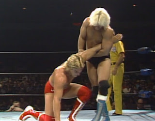 NWA Starrcade 1985 - Buddy Landel works Terry Taylor's arm.