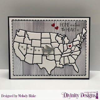 Divinity Designs Stamp Set: America the Beautiful, Custom Dies: USA Map, Double Stitched Rectangles, Scalloped Rectangles, Paper Collection: Weathered Wood