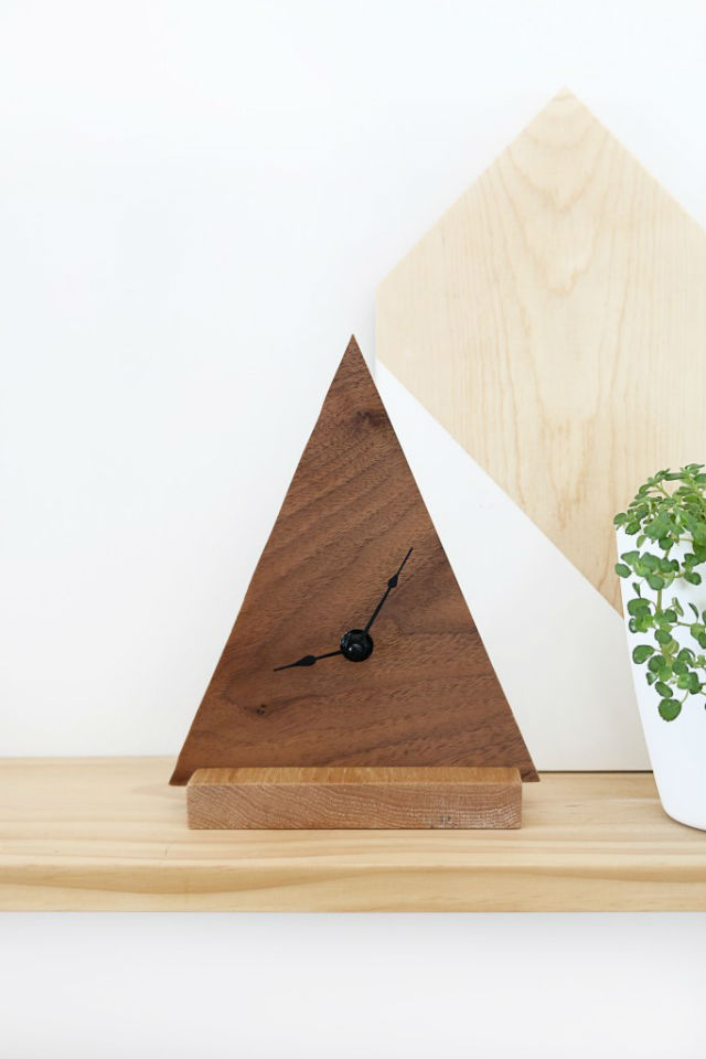 reloj geométrico diy triángulo