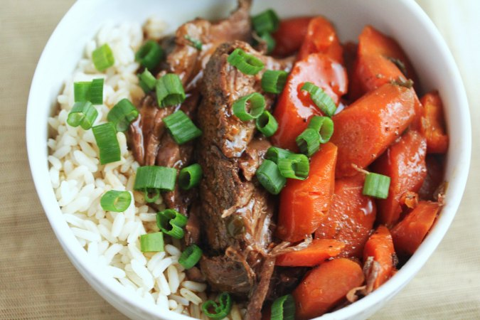 Slow Cooker Asian Pot Roast with rice