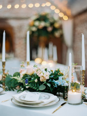 centerpiece flowers, candles and decor