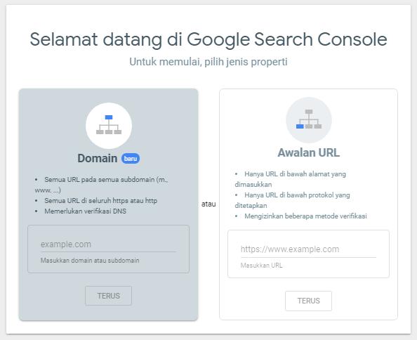 Halaman awal pendaftaran properti di Google Search Console