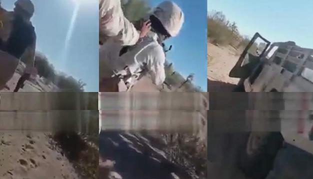 Video: El topón estuvo difícil pero soldado no se rajo y grabo cuando Sicarios los quisieron emboscar en Caborca, Sonora