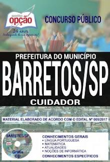Apostila cargo Cuidador Prefeitura de Barretos (grátis)