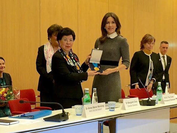 Crown Princess Mary received the WHO Award 2017 from WHO Director-General, Dr. Margaret Chan. Princess wore Prada dress