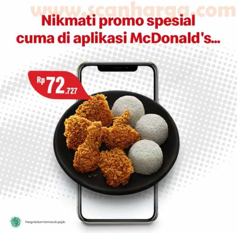McDonalds Promo Harga Spesial 5 Pcs Ayam + 3 Nasi Hanya 70Ribuan Via Aplikasi McD