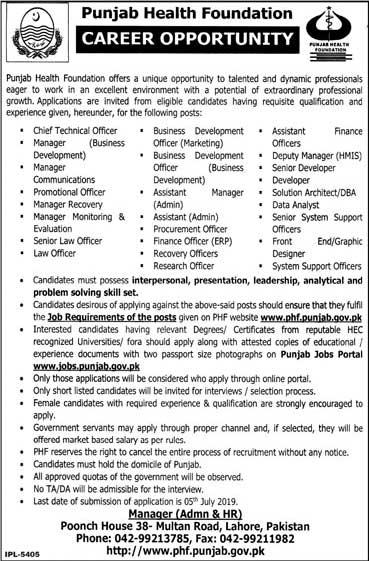Advertisement for Punjab Health Foundation Jobs