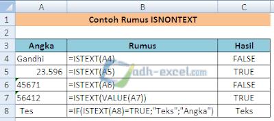 rumus ISNONTEXT di Excel
