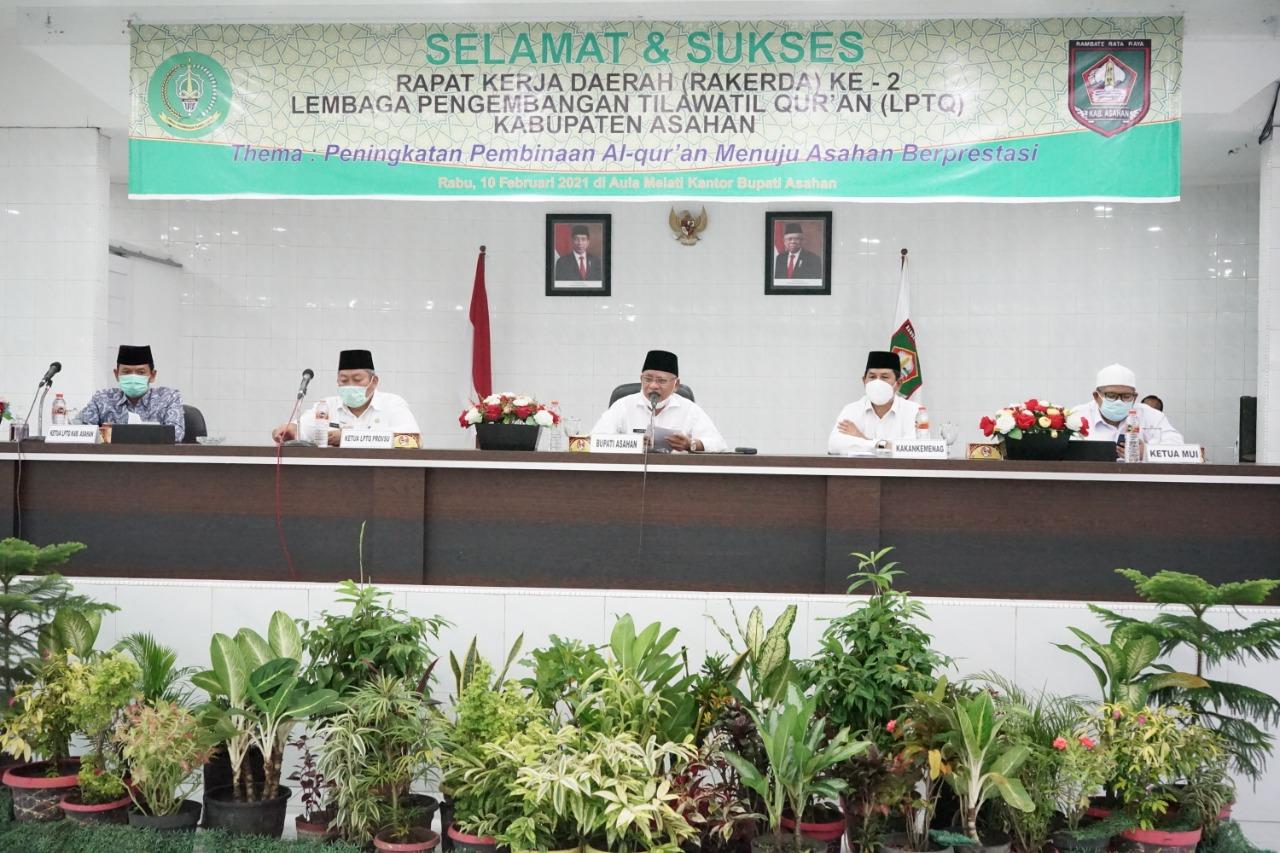 Buka Rakerda ke-2 LPTQ Kabupaten Asahan, Bupati : LPTQ Diharapkan Dapat Berperan Tingkat Pemahaman Dibidang Alquran