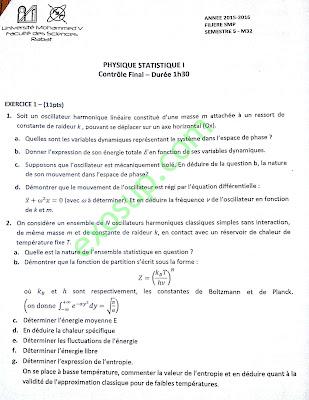 contrôles corrigés physique statistique 1 smp s5 FS Rabat