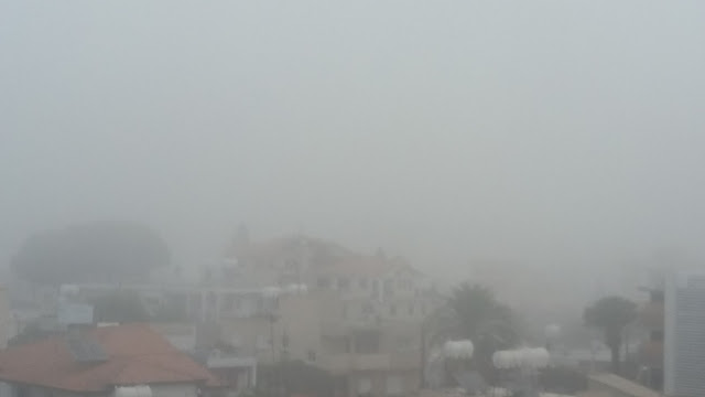 Heavy fog Nicosia early morning.