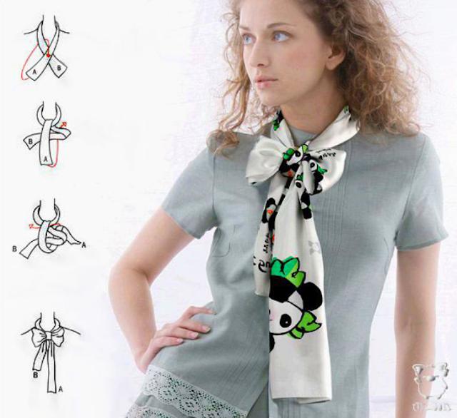 Как красиво завязать шарф или платок- фото-идеи со схемами,