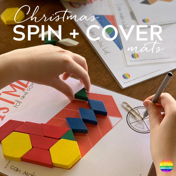 Christmas Spin + Cover Mats - the perfect holiday themed math centre for your preschool or kindergarten classroom. Students create a picture use a spinner to match then cover the shape | you clever monkey
