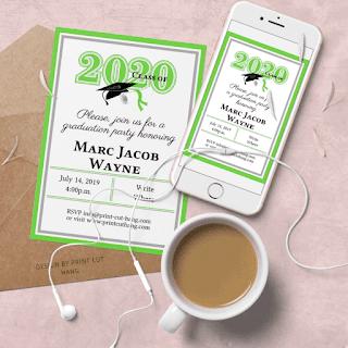 DIY invitation Green Graduation 2020