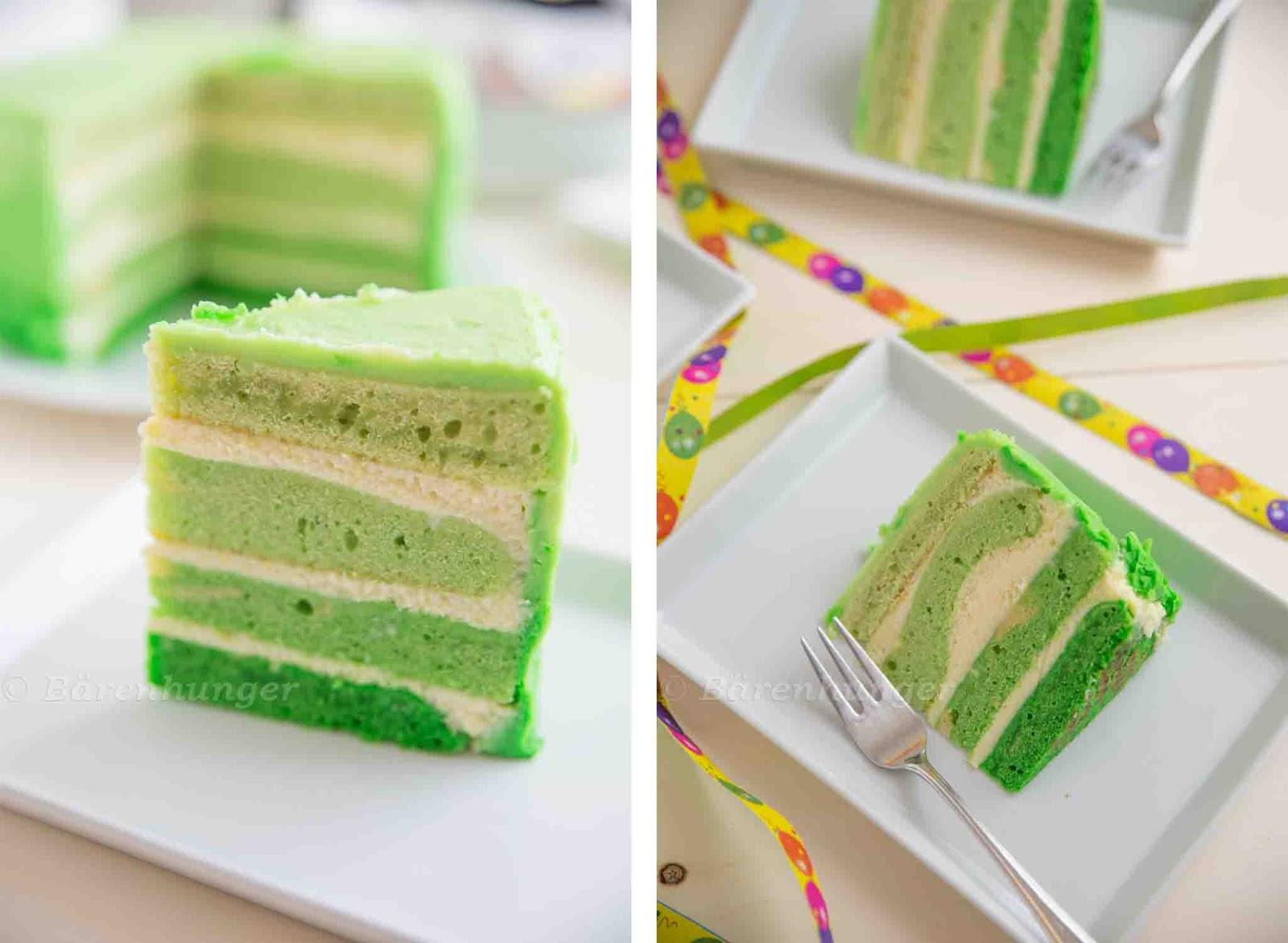 Kuchen mit gruner lebensmittelfarbe