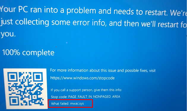 Fix mwac.sys Blue Screen Error or BSOD in Windows 10