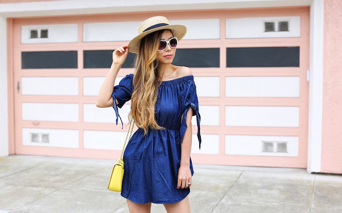 shin off shoulder dress, denim off shoulder dress, off shoulder dress on sale, white sunglasses, straw boater hat, tory burch bag, steve madden sandals, ankle strap sandals, san francisco street style