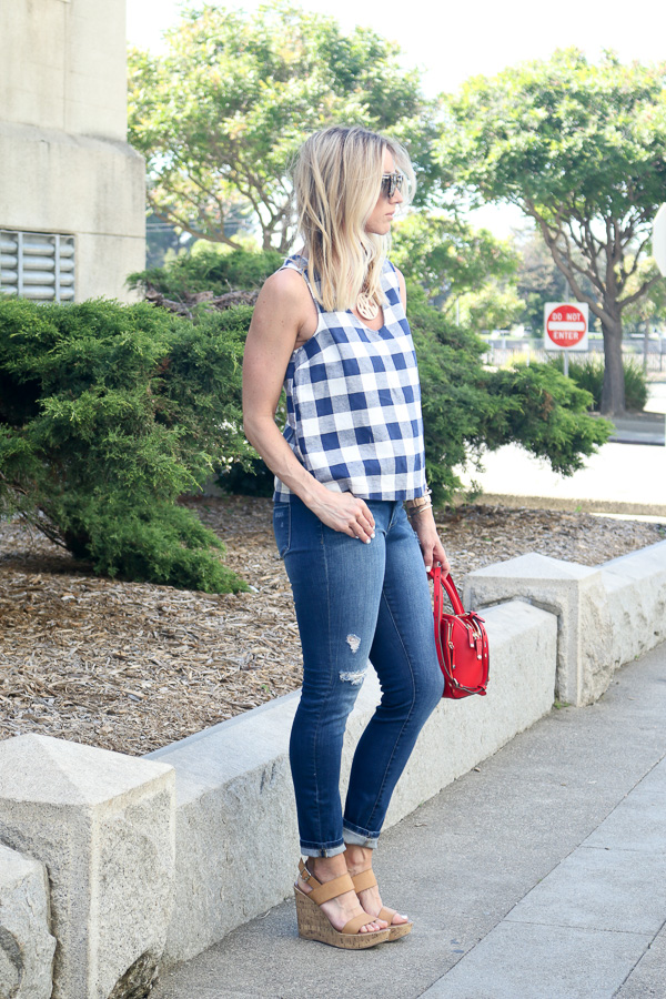 blue and white plaid tank women old navy