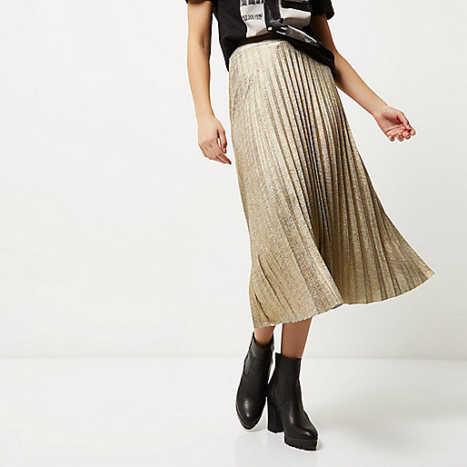gold pleated midi skirt, river island gold skirt,