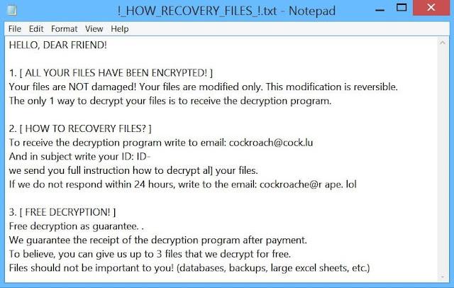 COCKROACH_LOCKER Ransomware
