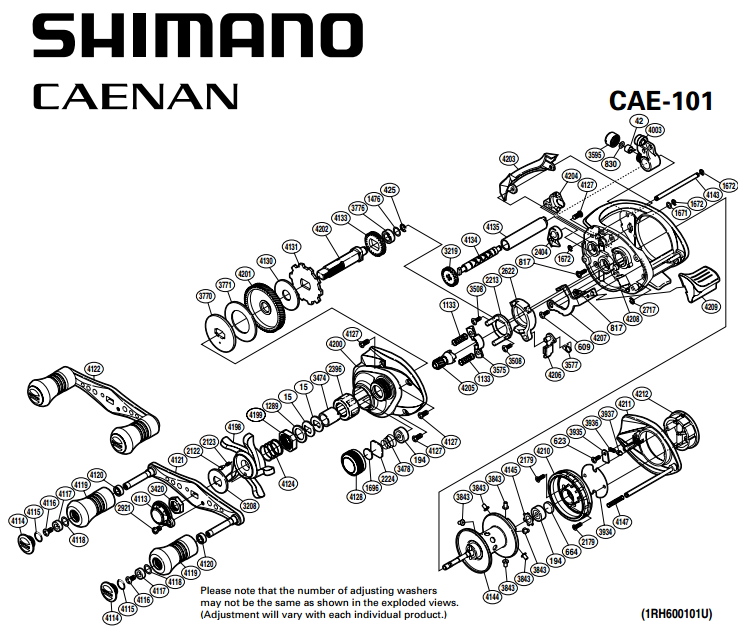 Shimano Caenan 100 101 Schematics Most Complete Fishing