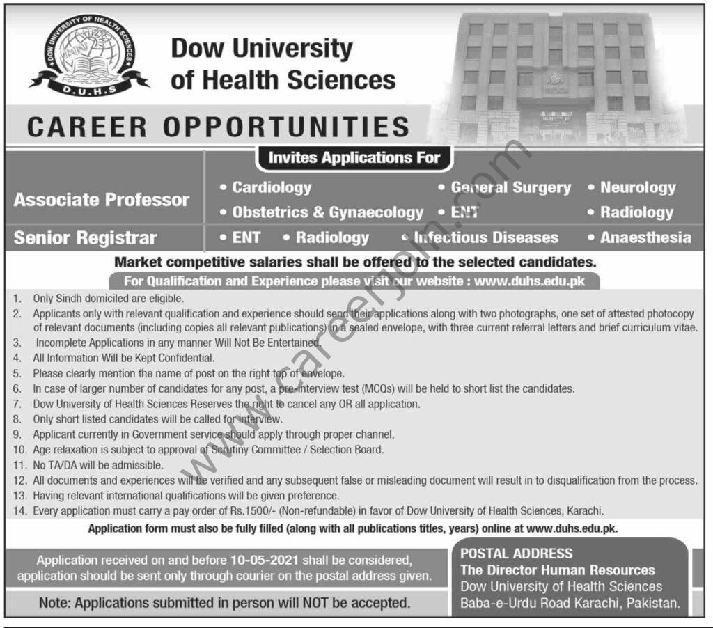Dow University Of Health Sciences Jobs 2021 in Pakistan
