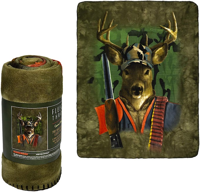 Hunting Buckley Fleece Blanket - 50'' x 60'' Throw Size 40% off
