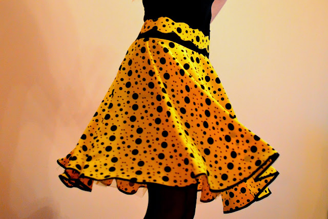 Yellow and black polka dots circle skirt twirl