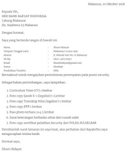 Contoh surat lamaran kerja di Bank BRI sebagai Security