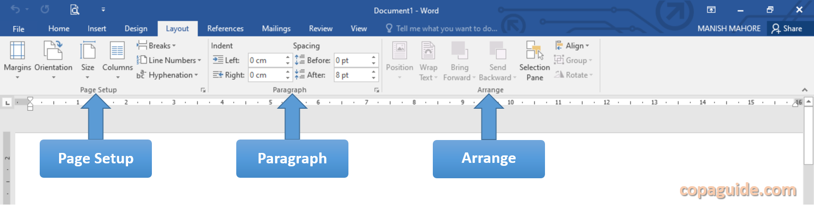 MS Word Layout Tab Commands