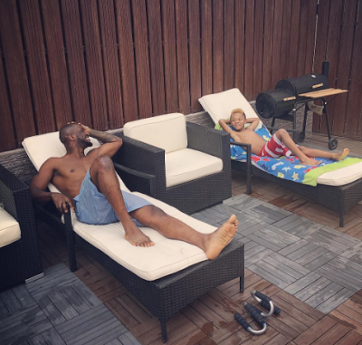 Peter Okoye shares photos of himself and son, Cameron swimming at home