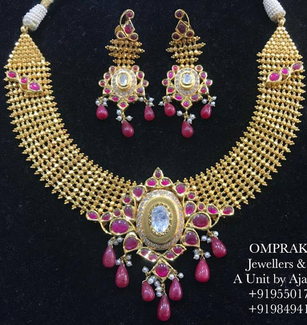 Antqiue Choker with Ruby Drops by Omprakash